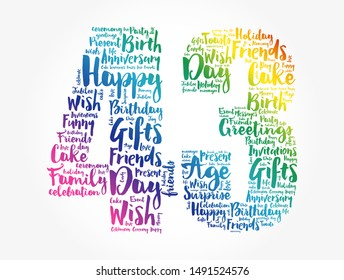 Happy 43rd birthday word cloud collage concept