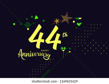 Happy 44th Anniversary lettering text banner, dark color with geometric background