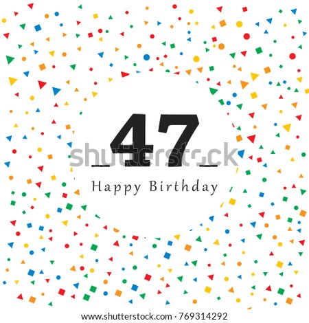Happy 47 Birthday Card Abstract Background Image Vectorielle De