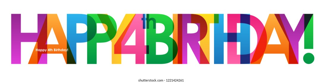 HAPPY 4th BIRTHDAY colorful letters banner