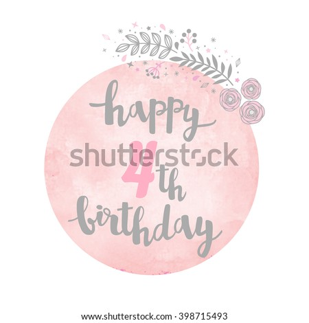 Happy 4th Birthday Greeting Card Floral Stock Vector Royalty Free