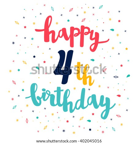 Happy 4th Birthday Greeting Card Cute Stock Vector Royalty Free