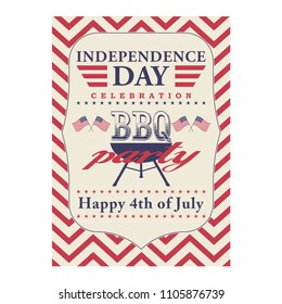 Happy 4th of July BBQ grill poster. Template for fourth of July BBQ party. USA independence day background. Vector illustration.