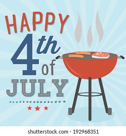 Happy 4th of July BBQ Grill Cookout Vector
