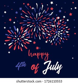 Happy 4th of July Greeting Card with Doodle Fireworks. Vintage Design Template.