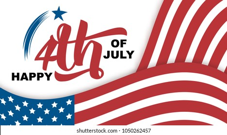 Happy 4th of July hand drawn quote isolated on white background, vector illustration. Handwritten calligraphic lettering, waving USA flags, Independence Day concept for greeting cards, banners, flyers