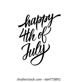 Happy 4th of July hand lettering. USA Independence day calligraphic element for your design. Vector illustration.