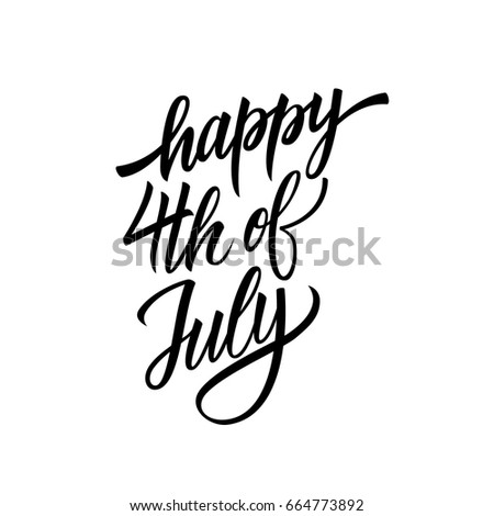 Happy 4th July Hand Lettering Usa Stock Vector Royalty Free