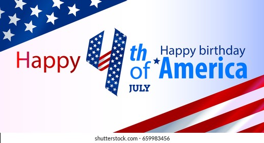 Happy 4th of July Hb - Independence Day Vector Design - July Fourth