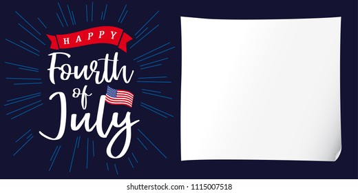 Happy 4th of July, Independence Day of USA, white paper and lettering poster. Happy Independence Day United States of America vector calligraphic design. Fourth of July sale illustration
