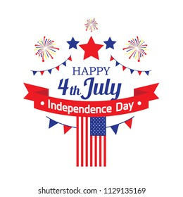 "Happy 4th July, Independence Day with fire works, american Flag, star, with the typography ""happy 4th July Independence Day"" can use to be bandage, t-shirt design,  brochure, banner and pin."