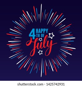 Happy 4th of July Independence day USA  handwritten phrase with stars, American flag and firework isolated on dark blue background. Vector lettering illustration.