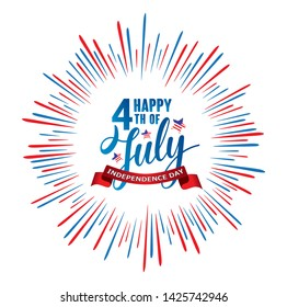 Happy 4th of July Independence day USA  handwritten phrase with stars, American flag and firework isolated on white background. Vector lettering illustration.