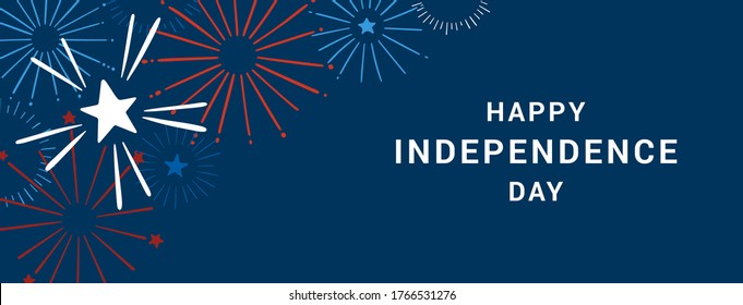 Happy 4th of July. Happy Independence Day vector banner. Festive hand drawn banner with fireworks. Vector illustration in traditional American colors: red, blue, white