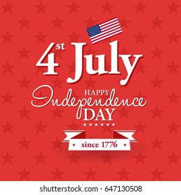 Happy 4th of July - Independence Day card or background. American flag. Festive poster or banner with hand lettering. Flat design. Vector illustration