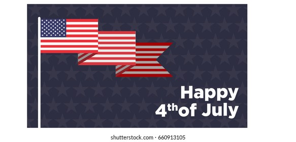 Happy 4th of July - Independence Day Vector Card
