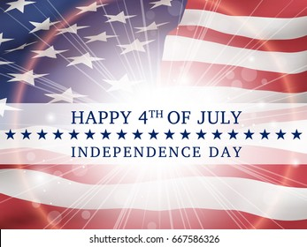 Happy 4th of july, independence day - poster with the flying flag of the USA  with glow