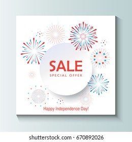 Happy 4th of July independence day Fireworks, confetti festive background with place for text. Fireworks blue and red color of American flag. Vector for poster, banner, brochure, greeting card design.