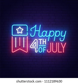 Happy 4th of July neon sign, bright signboard, light banner. Independence Day logo, emblem. July Fourth label. Vector illustration