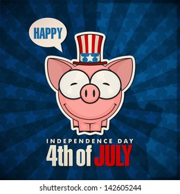 Happy 4th of July sticker card with cartoon piggy. Vector illustration.