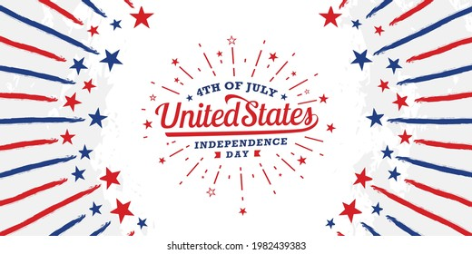 Happy 4th of July, united states of America independence day with firework starburst on starburst retro brush, grunge, vintage background in United States national flag color.