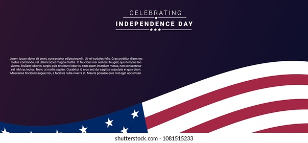 Happy 4th of July USA Independence Day banner design with waving american national flag .Vector illustration.