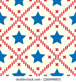Happy 4th of July, USA Independence Day background. Vector seamless flag pattern, watercolor blue star and red stripes. Abstract design concept for greeting card, banner, flyer, poster. eps 10