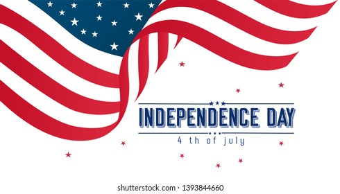Happy 4th of July USA Independence Day greeting card with waving American national flag and hand lettering text design. Vector illustration. - Vector
