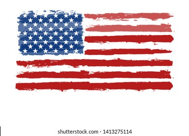 Happy 4th of July USA Independence Day greeting card. Lettering and American flag grunge brush paint background. Vector Illustration for Celebration  American Holiday
