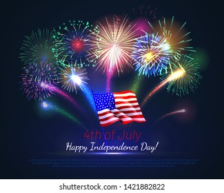 Happy 4th of July USA Independence Day greeting card. Realistic wavy american flag and brightly shining fireworks on deep blue background. National patriotic holiday banner vector illustration.