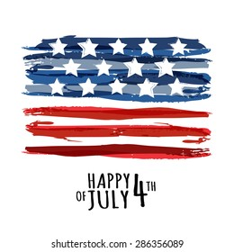 Happy 4th of July, USA Independence Day. Vector abstract grunge background with place for text. Watercolor design concept for greeting card, banner, flyer, poster.