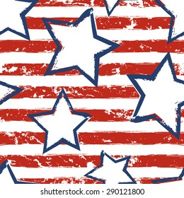 Happy 4th of July, USA Independence Day background. Vector seamless flag pattern, watercolor blue star and red stripes. Abstract design concept for greeting card, banner, flyer, poster.