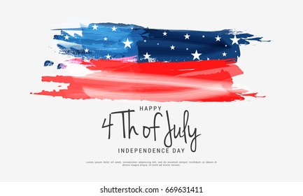 Happy 4th Of July USA Independence Day Text Space Background.