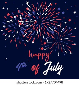 Happy 4th of July vector greeting card template. Hand drawn doodle fireworks at night sky. American Patriotic National Holiday Illustration.