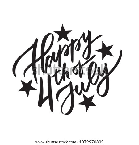 Happy 4th July Vector Typography Calligraphy Stock Vector Royalty