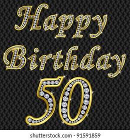 Happy 50 birthday, golden with diamonds, vector illustration