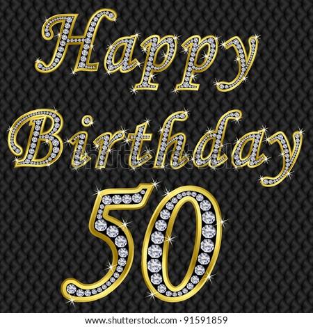 Happy 50 Birthday Golden With Diamonds Vector Illustration