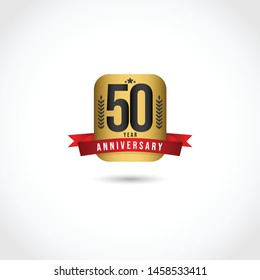 Happy 50 year anniversary design template. Design with badge gold for banner, greeting card or print.