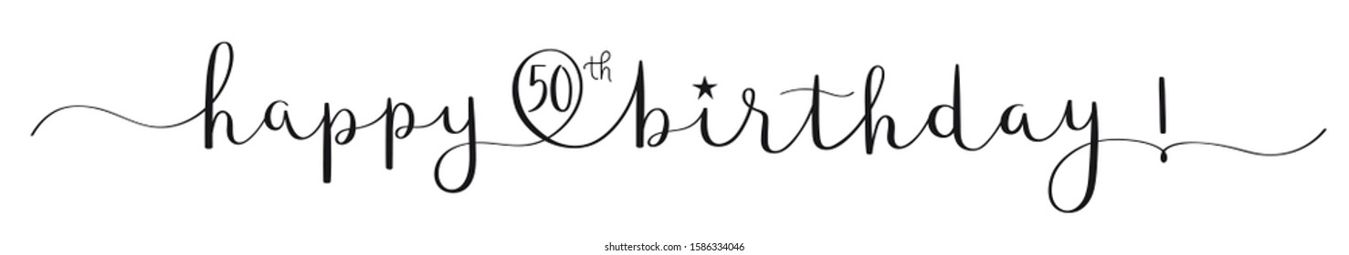 HAPPY 50th BIRTHDAY! black vector brush calligraphy banner with swashes