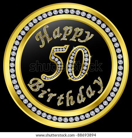 Happy 50th Birthday Golden Icon With Diamonds Vector Illustration