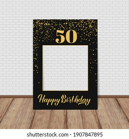 Happy 50th Birthday photo booth frame. Birthday party photobooth props. Black and gold confetti party decorations. Vector template.