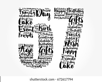 Happy 57th birthday word cloud collage concept