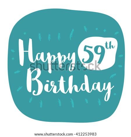 Happy 59th Birthday Card Brush Lettering Vector Design