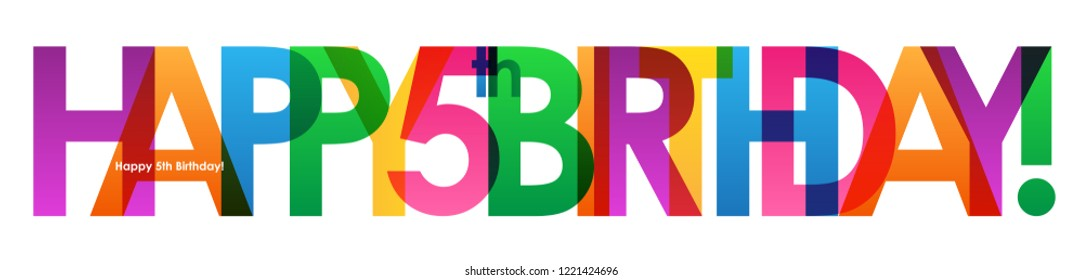 HAPPY 5th BIRTHDAY colorful letters banner