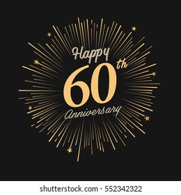 happy 60th anniversary. celebration logo with firework and dark background