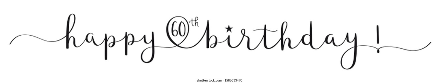 HAPPY 60th BIRTHDAY black vector brush calligraphy banner with swashes