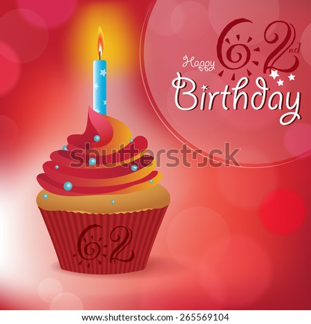 Happy 62nd birthday greeting invitation message stock vector happy 62nd birthday greeting invitation message bokeh vector background with a candle on m4hsunfo