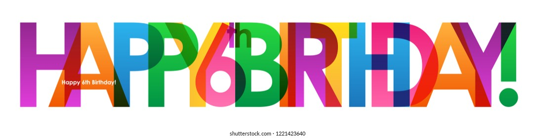 HAPPY 6th BIRTHDAY colorful letters banner