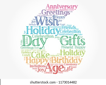 Happy 6th birthday word cloud collage concept