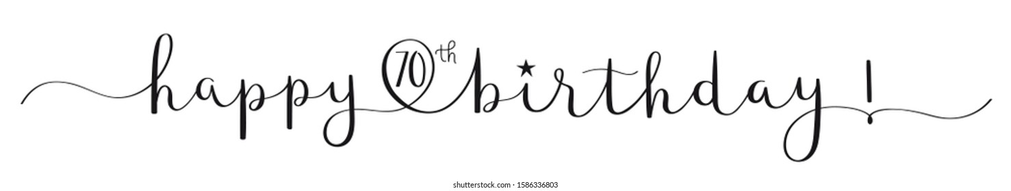 HAPPY 70th BIRTHDAY black vector brush calligraphy banner with swashes